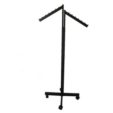 2-Way Rectangular Upright Rack With Waterfall Arms, X Base, & Casters