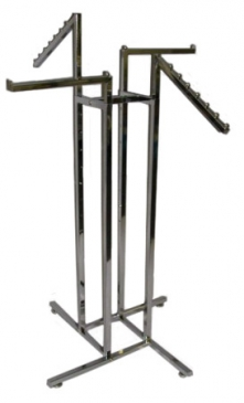 4-Way Square Tube Rack With 2 Straight & 2 Waterfall Square Tube Arms