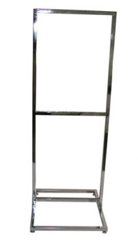 Sign holder, 2 tier square tube open base with levelers