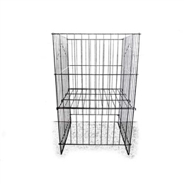 Grid dumpbin with adjustable bottom for 3 different sizes