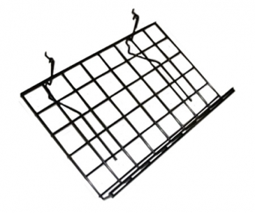 Slant shelf with lip for grid/slatwall