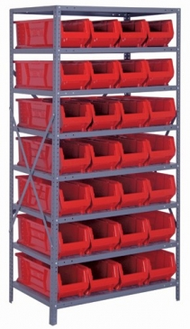 "Hulk Container <br>Steel Shelving System<br> 24""Deep, 8 Shelves"