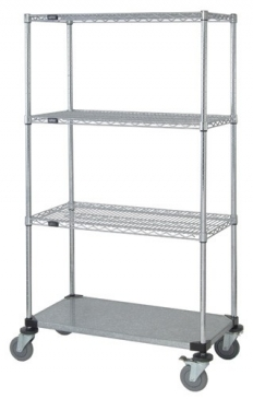 MOBILE 4 Shelf, 3 Wire / 1 Solid Shelf