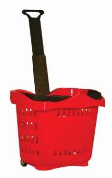 Rolling Hand Basket <br>With Telescopic Plastic <br>Or Aluminum Handle