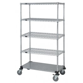 MOBILE 5 Shelf, 4 Wire / 1 Solid Shelf