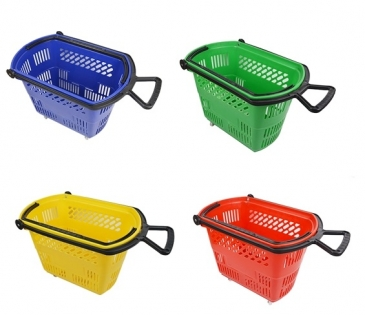 Basket On Wheels With Pull & Carry Handles