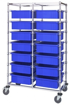 Double Bay Bin Carts w/Dividable Containers