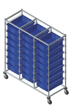 Triple Bay Bin Carts w/Dividable Containers