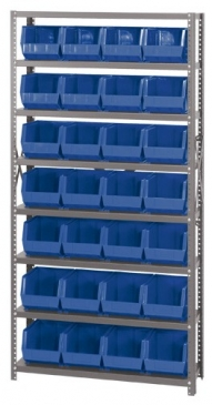"Giant Open Hopper <br>Steel Shelving System <br>12"" Deep, 8 Shelves"