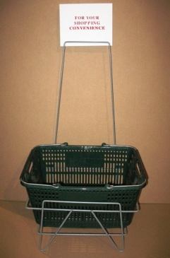 Hand Basket Storage Rack With Sign