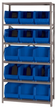 "Giant Open Hopper <br>Steel Shelving System <br>18"" Deep, 6 Shelves"
