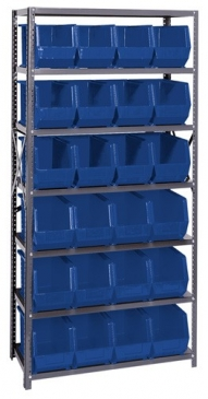 "Giant Open Hopper <br>Steel Shelving System <br>18"" Deep, 7 Shelves"