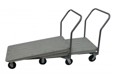 Plastic Nestable Flatbed Cart with Plain Handle