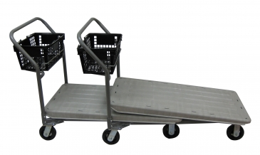Plastic Nestable Flatbed Cart With Hand Basket Holder