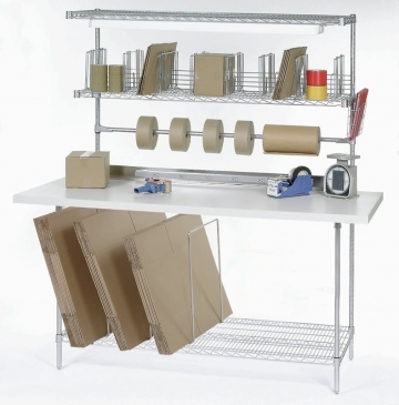 Packaging Bench With Plastic Laminate Top