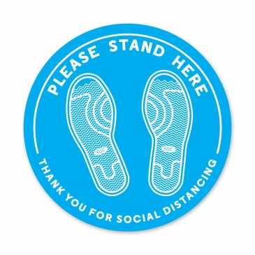 PLEASE STAND HERE - THANK YOU FOR SOCIAL DISTANCING DECAL