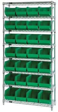 "Giant Open Hopper <br>Wire Shelving System <br>12"" Deep, 8 Shelves"