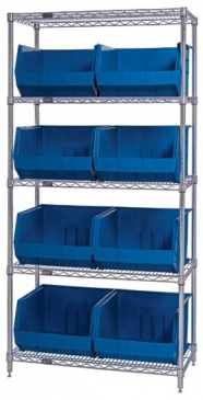 "Giant Open Hopper <br>Wire Shelving System <br>18"" Deep, 5 Shelves"