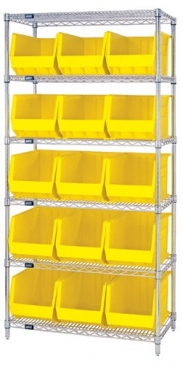 "Giant Open Hopper <br>Wire Shelving System <br>18"" Deep, 6 Shelves"