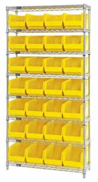 "Giant Open Hopper <br>Wire Shelving System <br>14"" Deep, 8 Shelves"