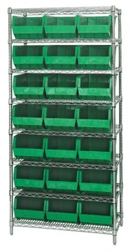 "Giant Open Hopper <br>Wire Shelving System <br>18"" Deep, 8 Shelves"