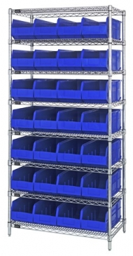 "Stackable Shelf Bin<br>Wire Shelving System, 12""Wide"