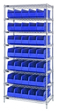 "Stackable Shelf Bin<br>Wire Shelving System, 14""Wide"