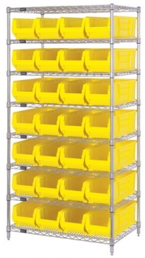 "Hulk Container <br>Wire Shelving System<br> 24""Deep, 8 Shelves"